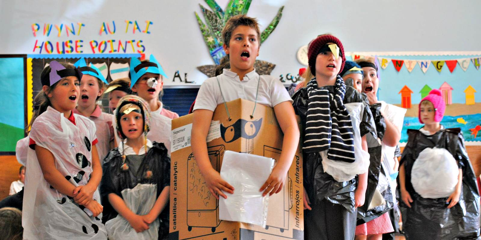 School children singing opera